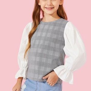Age 14**GORGEOUS plaid with puffy sleeves blouse